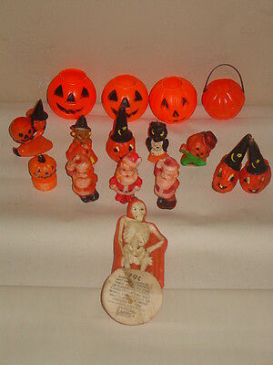 Vintage Gurley Lot Of Halloween Candles Skeleton Owl Rosko Witch Candy Container