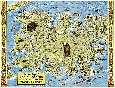 1949 pictorial map Kodiak Alaska world Largest Carnivorous Animal POSTER 8878004