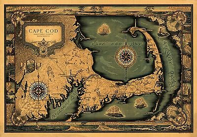 1931 Tripp pictorial Cape Cod map POSTER cartouche compass rose railroads 8636