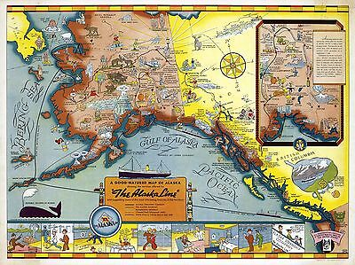 1939 PICTORIAL Map cartoon map Alaska Railways Automobile Highway POSTER 9937
