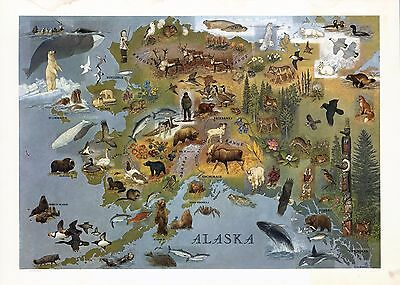 1949 PICTORIAL map Alaska Shows towns wildlife landmarks Eskimos POSTER 8047