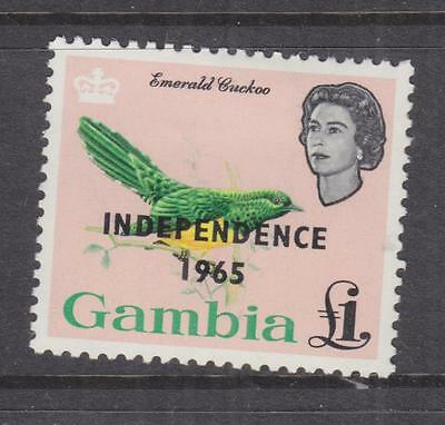 GAMBIA, 1965 QE Independence, Cuckoo, One Pound, lhm.