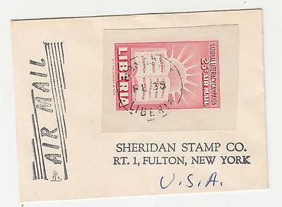 LIBERIA, 1950 Literacy Campaign 25c. from Sheet on Airmail cover to USA