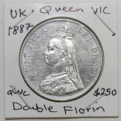 UK GB GREAT BRITAIN DOUBLE FLORIN 1887 SILVER aUNC  (SCL2/59)