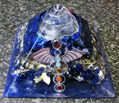Orgone Lapis Lazuli Pyramid with Angel Wings and 7 Chakra Colours