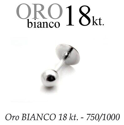 Piercing body TRAGO CORPO LABRET LABBRO in ORO BIANCO 18kt. white GOLD