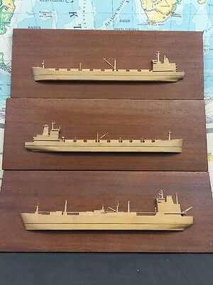 Trio Of Vintage Wooden Bas Relief Pictures Made In Poland Wall Decor Cargo Ships