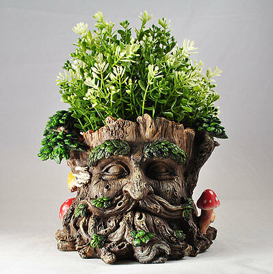 Tree Ent Face Plant Pot Holder Fantasy Garden Outdoor Sculptures Myth 39689