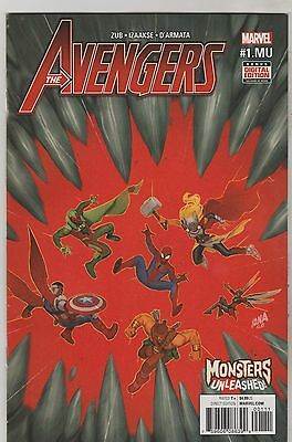 Marvel Comics Avengers #1 Mu March 2017 Monsters Unleashed 1St Print Nm