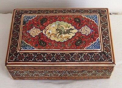 Vintage, Antique Persian Qajar hand made Inlaid wooden picture box