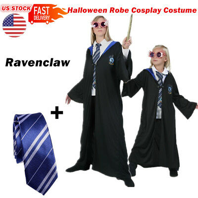 US Stock Harry Potter Cape Costume Ravenclaw Robe Cloak With Tie For Party