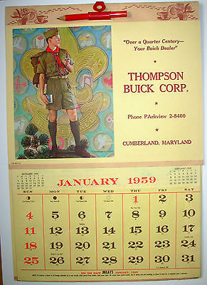 Boy Scout NORMAN ROCKWELL 1959 Calendar – Thompson Buick Corp., Cumberland, MD