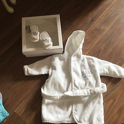 White baby Bam dressing gown With Slippers Boxed