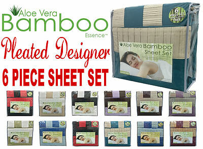 King Aloe Vera Bamboo Sheet Set 1800 Count Choose Color Pleated Trim