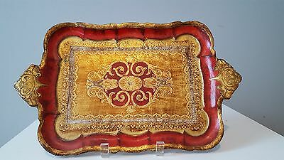 Gorgeous Vintage Ornate Italian Florentine Gold Gilt Red Tole Tray