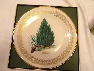 Set 7 Lenox Annual Christmas Tree Fine China Plates 1976 - 1983 ~ Mint in Boxes