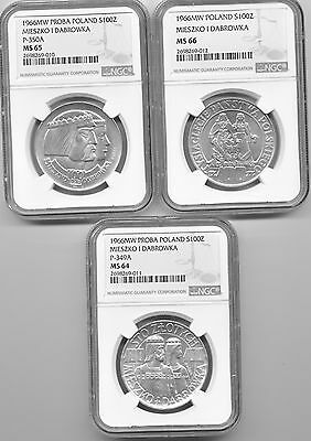 Poland Lot of 3 Mieszko I Dabrowka Silver 100 Zloty - NGC MS 64 65 66