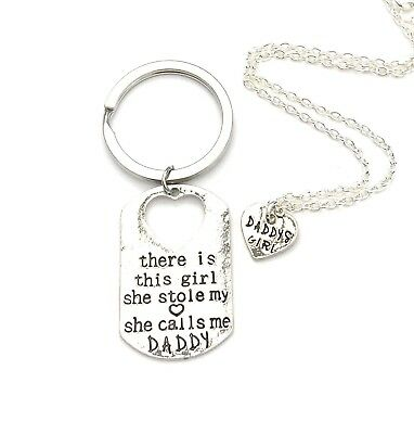 Daddy and daughter - matching necklace and keyring in gift boxes