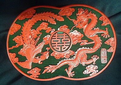 Vintage Chinese Fine Hand Craft Cinnabar Lacquer Box Dragon Phionex Marked
