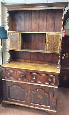 Antique Oak Inlaid Welsh Kitchen Dresser