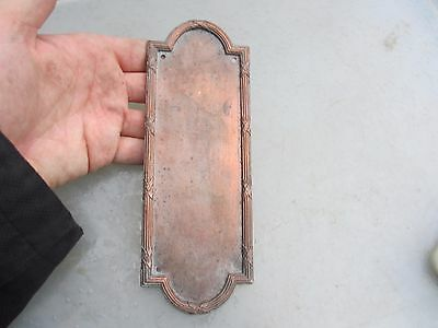 Victorian Copper Plate Finger Plate Push Door Handle Architectural Antique Old