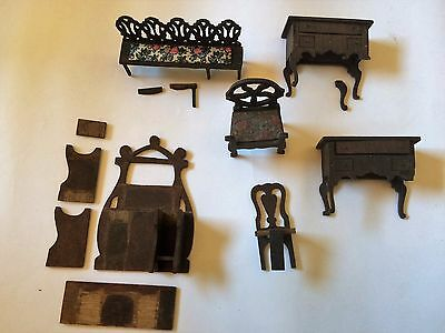 Job Lot Antique Doll's House Fretwork Wooden Furniture - Spares or Repairs - J3