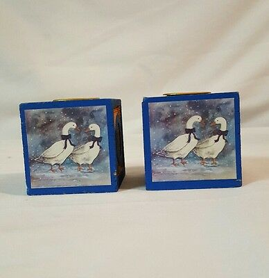 2 Wood Block Letters CANDLE Holders Duck Scene FREE SHIPPING