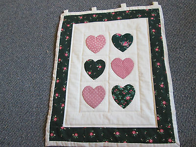 Handmade Hanging Home Decor Wall Quilt / Hanging - Hearts