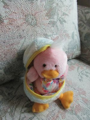 "Pink Plush Chick with Bow and Noisemaker in Blue Plush Egg, approx 6"" tall"