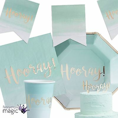 Ginger Ray Hooray! Mint Ombre Foil Party Birthday Graduation Partyware Tableware