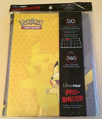 Ultra Pro Pokemon Pikachu Pro Binder Folder Album - 20 Pocket Pages - 360 cards