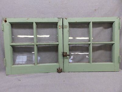 Pair Antique Casement Windows Cabinet Cupboard Pantry Door Bookcase Vtg 62-17R