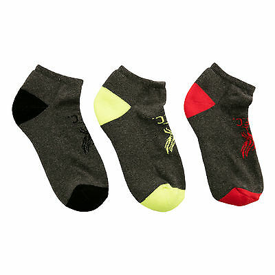 Liverpool FC LFC Kids Boys 3 Pack Cushioned Trainer Grey Socks Official