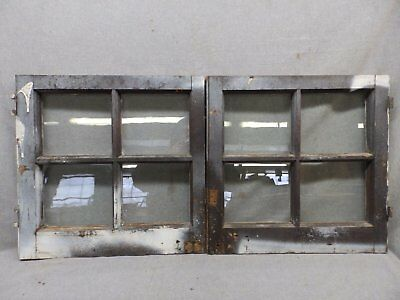 Pair Antique Casement Windows Cabinet Cupboard Pantry Door Bookcase Vtg 63-17R