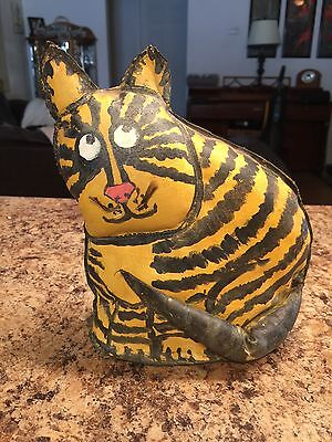 "Vintage Folk Art Circus Knock Down Wow Tiger Cat Signed Lola ""TOM"""
