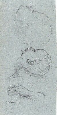 Graphite Pencil Young Infant Baby Portrait Life Drawing by Miriam Slater Signed
