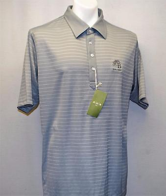 New Mens AUR ACTIVE short sleeve striped polyester golf polo shirt  Large