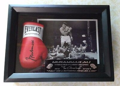 Framed Mini Boxing Glove With Muhammad Ali Autograph Limited Print Edition