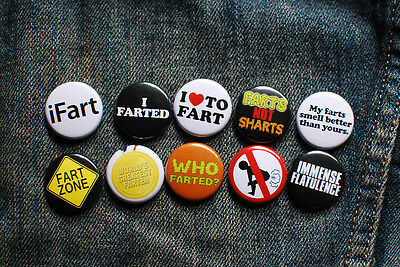 """10 x 1"""" FART BUTTONS pins badges I heart to fart ifart humor funny who farted?"""