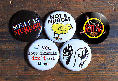 "5 x 1"" ANIMAL RIGHTS BUTTONS badges pins vegetarian seitan meat is murder vegan"