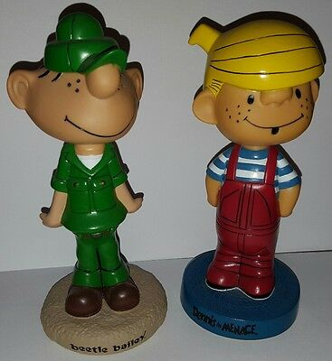 2 Vintage Cartoon Bobbers Dennis The Menace Beetle Bailey BOBBLE HEAD FREE S/H