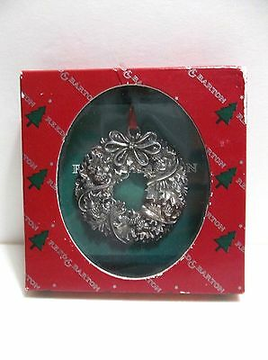REED And BARTON OAKLEAF WREATH Silver Plate Christmas Tree Ornament