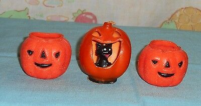 vintage Halloween GURLEY CANDLE LOT OF 2 Jack-o-lantern with cat in mouth +2 jol
