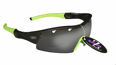 RayZor Black Framed Uv400 Vented Smoke Mirrored Cricket Wrap Sunglasses RRP£49