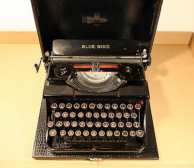 Vintage Portable Typewriter BLUE BIRD and Case with Spares EXCELLENT ORIGINAL