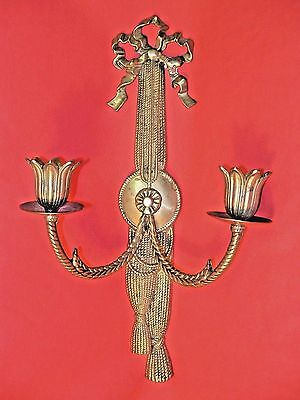 Vintage Andrea By Sadek Brass Wall Sconce Ribbon/Tassels & Bow