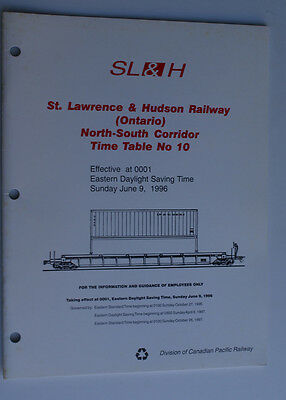 St Lawrence & Hudson SL&H (Ontario)  Timetable No.10  June 9 1996