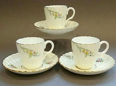 Minton Demitasse Cup and Saucer x 3 Bromley S 340 FLUTED