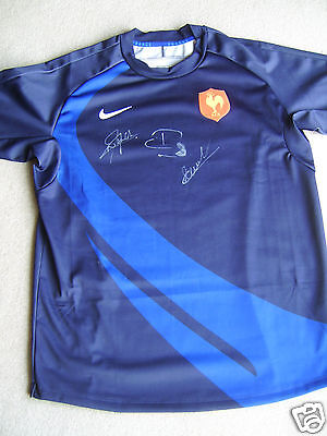 France 2000's Rugby Union shirt SIGNED BY 3, Nyanga, Pelous and Elissalde
