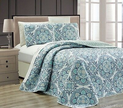 3 Piece Reversible Blue Gray Quilted Bedspread Coverlet Set Queen Size